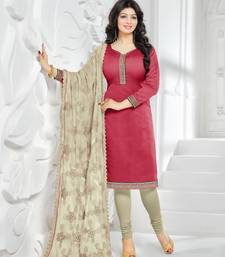 Red embroidered Pure Chanderi unstitched Party Wear salwar suit with Heavy dupatta