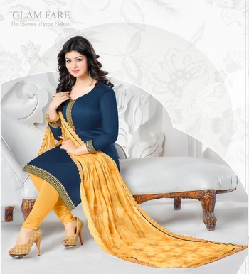 Blue embroidered Pure Chanderi unstitched Party Wear salwar suit with Heavy dupatta