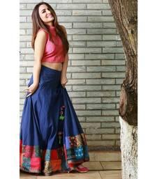 Buy Blue Banglori silk printed Semi-stitched lehenga choli navratri-lehenga-chaniya-choli online