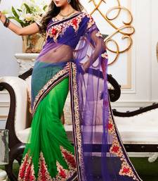 Buy Green and Deep Bluish Purple  Net  Saree With Blouse net-saree online
