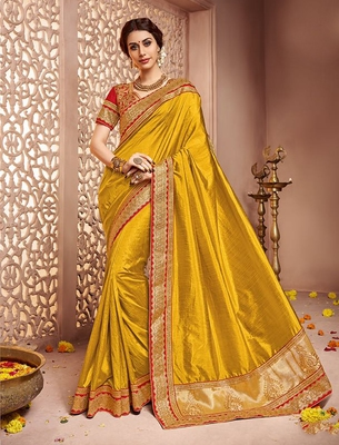 763a7cda91 Dark yellow embroidered art silk saree with blouse - Hirpara House - 1705393