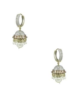 Golden Beige CZ AD American Diamond Jhumki Earrings Jewellery for Women - Orniza