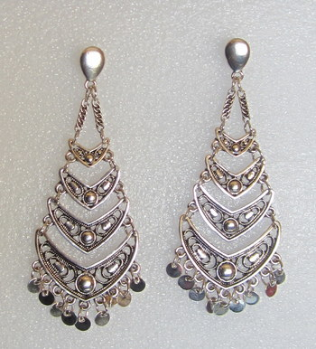 d5622f162 ANTIQUE SILVER OXIDIZED DANGLER FUNKY EARRINGS PAIR - ETHNIC INDIA - 1705795