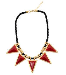 "Buy ""Maroon and Gold Triangles"" Statement Necklace collar-necklace online"