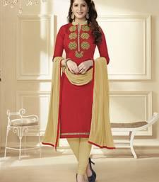 Buy Maroon zardosi chanderi unstitched salwar with dupatta salwars-and-churidar online