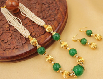 Beautiful Pearl Green Designer Necklace Set