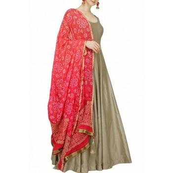 Grey printed art silk semi stitched salwar with dupatta