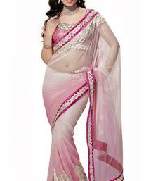 Buy Shaded Pink and Off White net saree with blouse  net-saree online