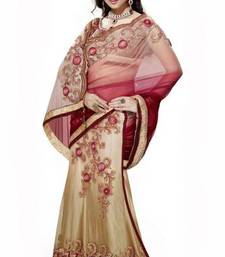 Buy Maroon and Light Beige Net lehenga style saree with blouse Pinit  net-saree online