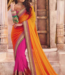 Buy Yellow embroidered satin saree with blouse party-wear-saree online