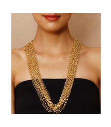 Gold beaded multistrand necklace