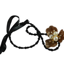 Buy Brown Color Flower Design Rubber Band Hair Accessories hair-accessory online