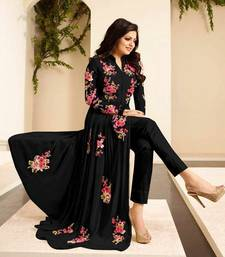 Buy Black embroidered georgette semi stitched salwar with dupatta semi-stitched-salwar-suit online