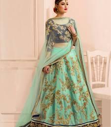 Buy Sea green bangaluri silk embroidered lehenga choli with blouse ghagra-choli online