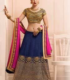 Buy Navy Blue Heavy Bangaluri Silk Embroidered lehenga with dupatta ghagra-choli online