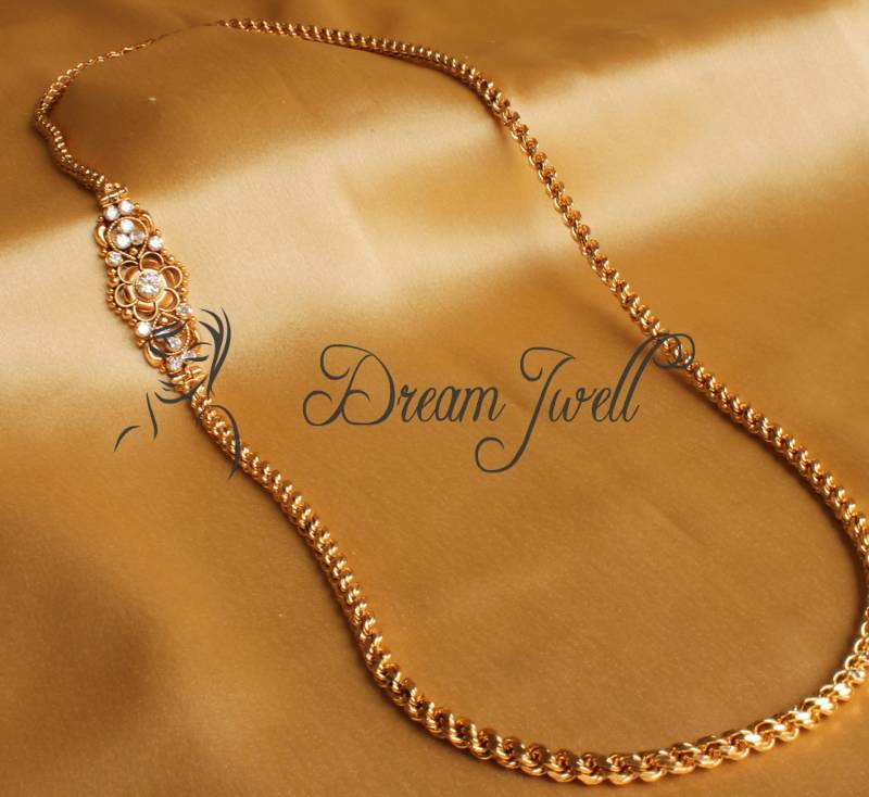Beautiful South Indian Double Long Necklace Set: Buy GORGEOUS GOLD PLATED LONG MUGAPPU CHAIN Online
