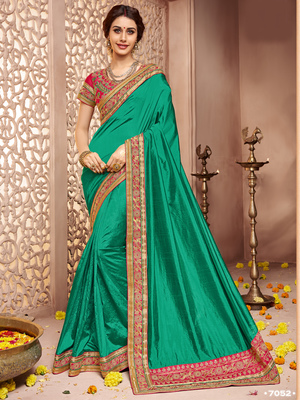 Green embroidered shachi silk saree with blouse
