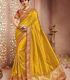 Buy Yellow embroidered shachi silk saree with blouse art-silk-saree online
