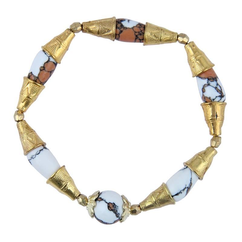 Kanjivaram Beads: Round And Drop Shaped Mosaic Beads Designer Stretchable