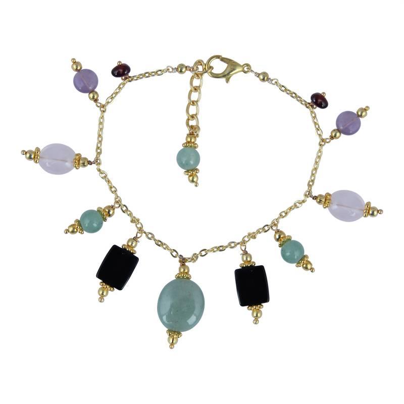 Kanjivaram Beads: Aventurine, Rose Quartz, Amethyst, Garnet And Black Agate
