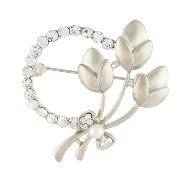 Silver Colour Round Shape Brooch for Men and Women