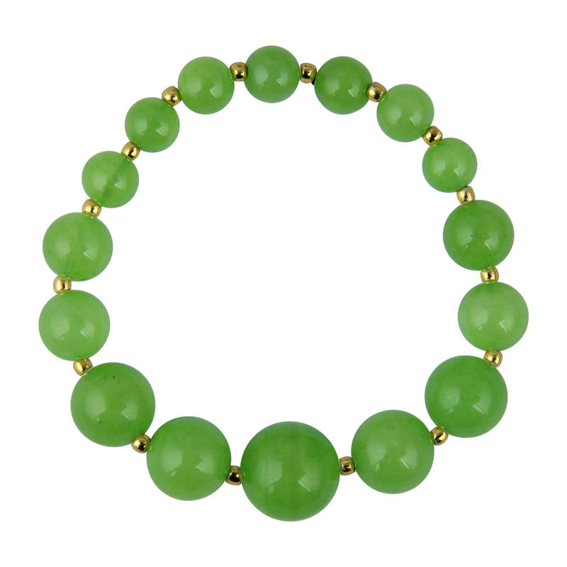 Kanjivaram Beads: Apple Green Quartz Stretchable Beads Bracelet