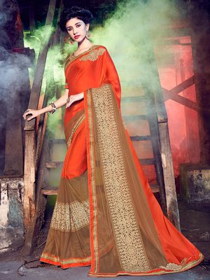 orange and brown embroidred chiffon saree with blouse
