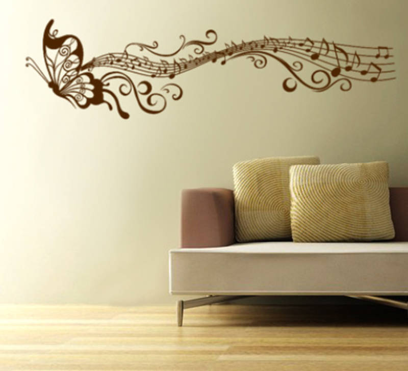 musical butterfly wall decal - kakshyaachitra - 17854