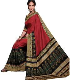 Buy Multicolor printed cotton poly saree with blouse printed-saree online