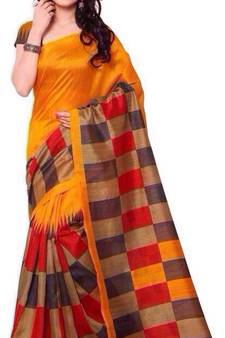 3eef1a297fab57 Multicolor printed cotton poly saree with blouse