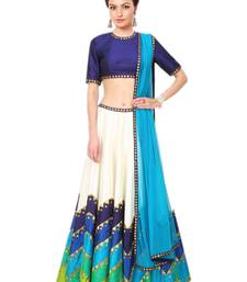 Buy Multicolor embroidered art silk unstitched lehenga ghagra-choli online