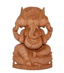 Buy Three Head Handmade Art Work Wooden Handicrafts Ganesha Idol Statue sculpture online