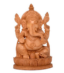 Buy Wooden Ganesh Statue - Hand Carved Sitting on Mouse- Lord Ganesha Wood Sculpture Elephant sculpture online