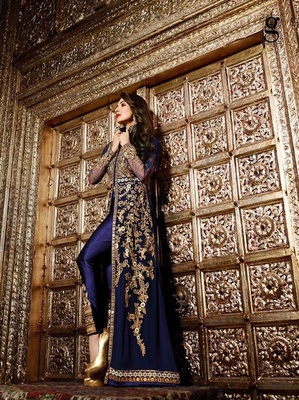 Blue embroidered georgette semi stitched pakistani salwar with dupatta