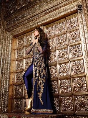 Blue embroidered georgette semi stitched pakistani salwar with dupatta