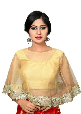 fec5e3c8e2e729 Gold embroidered Dupion Silk u neck blouse readymade-blouse ...