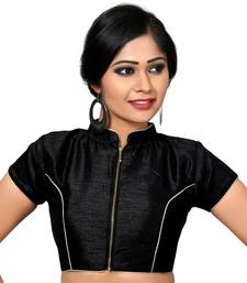 Buy Black plain Dupion Silk collar blouse readymade-blouse readymade-blouse online