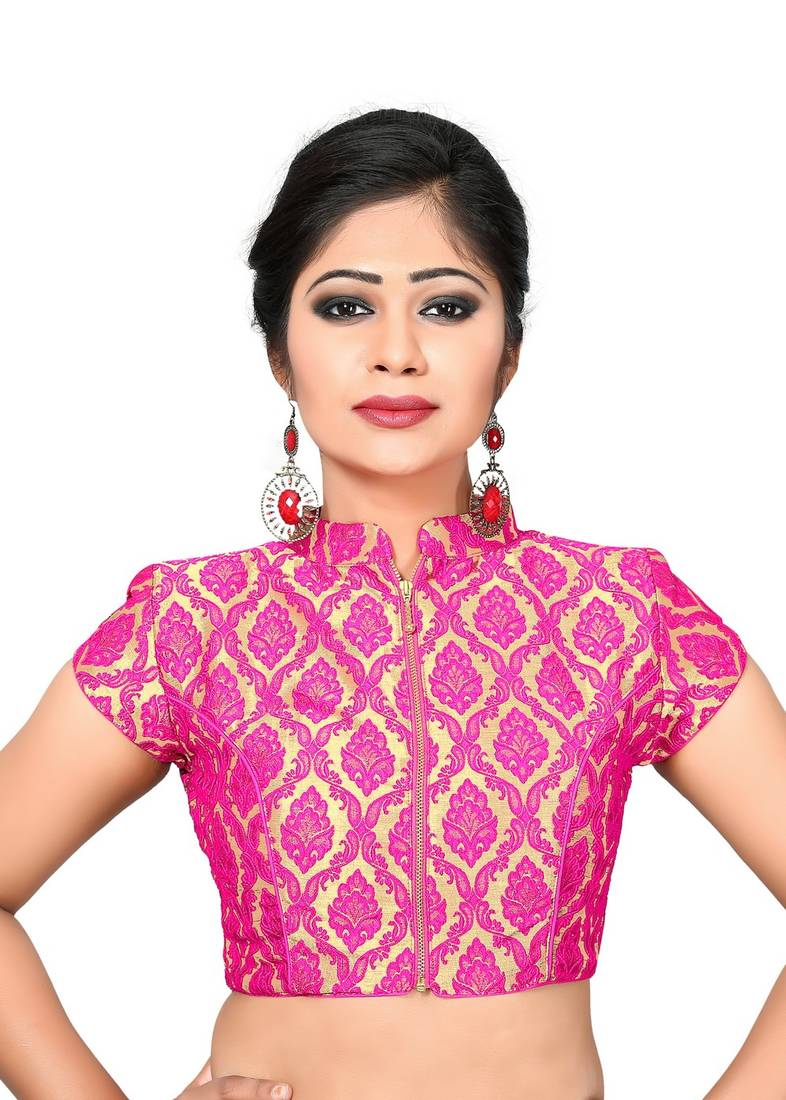 Buy Pink printed Brocade collar blouse readymade-blouse Online