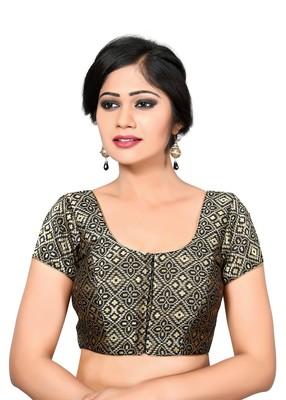 9638bb67cf723a Black printed Brocade u neck blouse readymade-blouse - muhenera s - 1713010