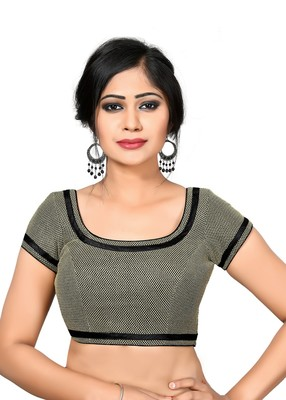 d2dc261fba3e29 Black printed Net and silk round neck blouse readymade-blouse ...