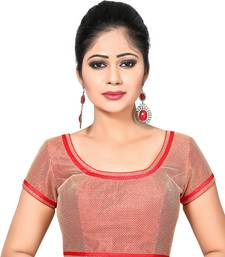 Buy Red printed Net and silk round neck blouse readymade-blouse readymade-blouse online