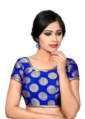 dfc9ad10a8c62b Blue printed Dupion Silk square neck blouse readymade-blouse ...