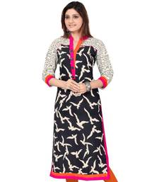 Buy Black printed cotton cotton-kurtis cotton-kurti online