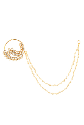 Pure Collection Ethnic Kundan Double Pearl String Bridal Nath For Women