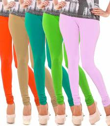 Buy Multicolor Churidar Komal 5Pc Cotton Leggings leggings-combo online
