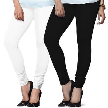 White n Black Churidar Komal Cotton Leggings