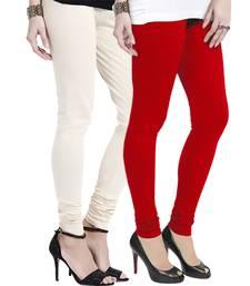 Off-White n Red Churidar Komal Cotton Leggings