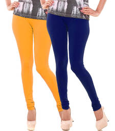 Buy Yellow n Blue Churidar Komal Cotton Leggings leggings-combo online