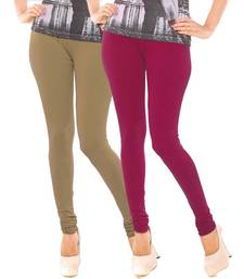 Buy Beige n Maroon Churidar Komal Cotton Leggings leggings-combo online