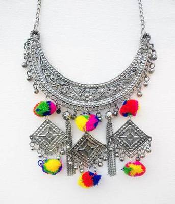Silver Banjara Pom Pom Necklace